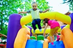 happy kids having fun on playground